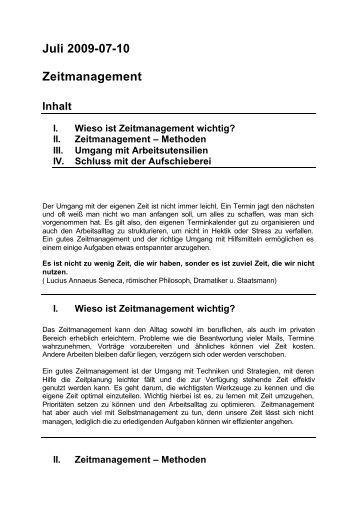 Juli 2009 Thema des Monats Zeitmanagement - Starternetz