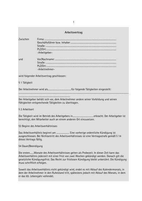 Muster Arbeitsvertrag Pdf Starterzentrum Rlpde
