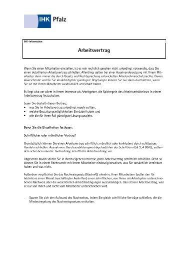 ihk information pdf starterzentrum rlpde - Arbeitsvertrag Muster Ihk