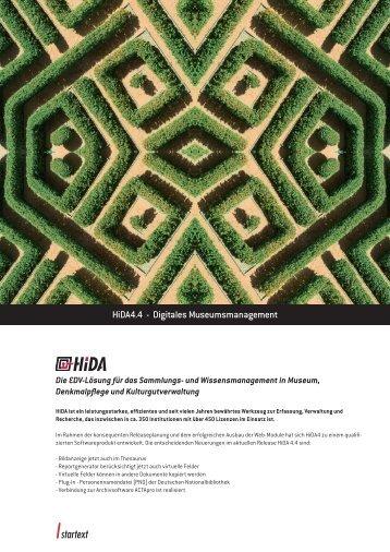 HiDA Release 4.4 Infoblatt - startext GmbH