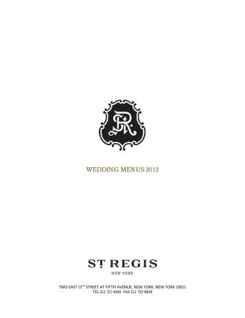 wedding menus 2012 - Starwood Hotels & Resorts