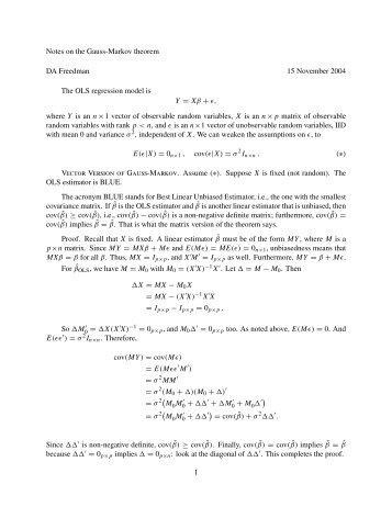 Gauss markov theorem