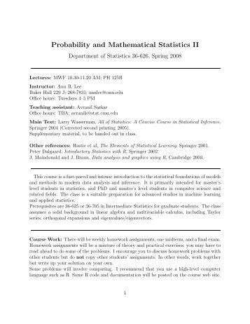 Probability and Mathematical Statistics II - Department of Statistics