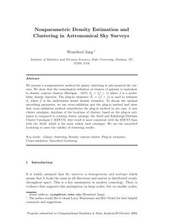 Nonparametric Density Estimation and Clustering in Astronomical ...