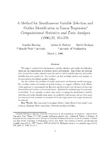 A Method for Simultaneous Variable Selection and Outlier ...