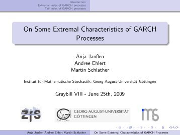 On Some Extremal Characteristics of GARCH Processes