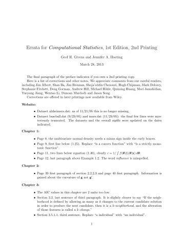 Errata for Computational Statistics, 1st Edition, 2nd Printing