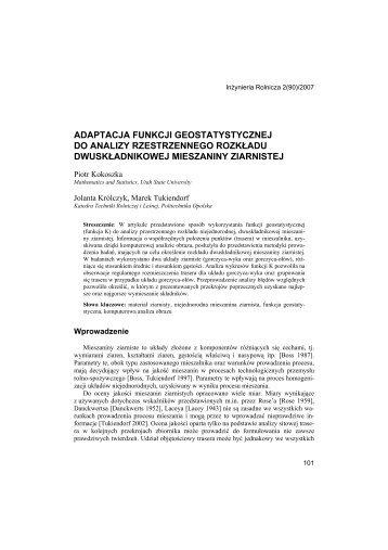 adaptacja funkcji geostatystycznej do analizy ... - Statistics