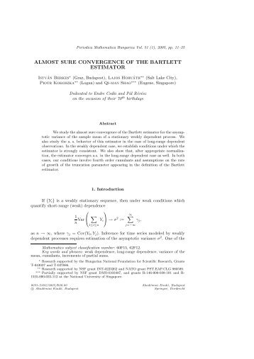 almost sure convergence of the bartlett estimator - ResearchGate