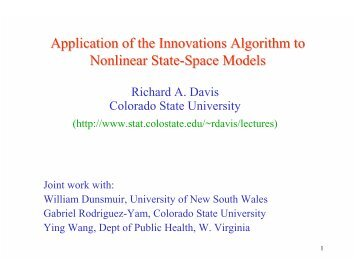 Application of the Innovations Algorithm to Nonlinear State-Space ...