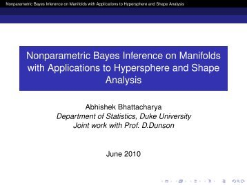 Nonparametric Bayes Inference on Manifolds with Applications to ...