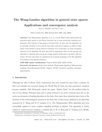 The Wang-Landau algorithm in general state spaces: Applications ...