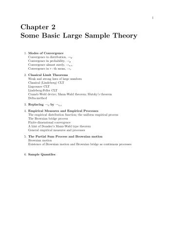 Chapter 2 Some Basic Large Sample Theory