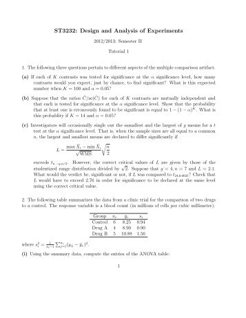 Tutorial 1 - The Department of Statistics and Applied Probability, NUS