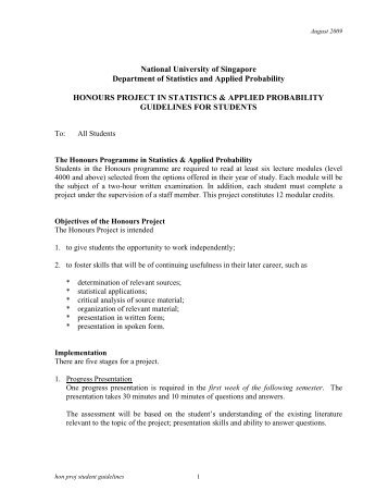 honours project in mathematics - The Department of Statistics and ...