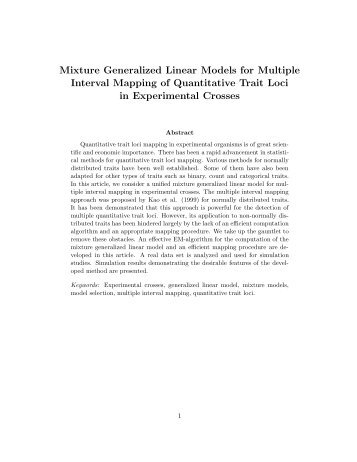 Mixture Generalized Linear Models for Multiple Interval Mapping of ...