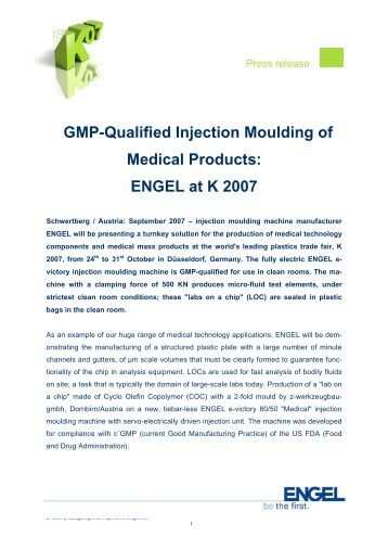 GMP-Qualified Injection Moulding of Medical ... - Engel Austria