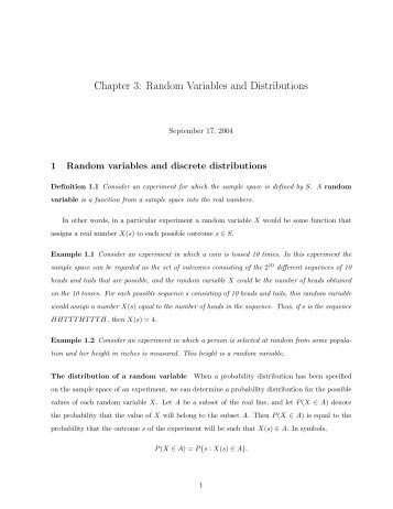 Chapter 3: Random Variables and Distributions