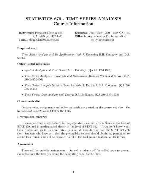 STATISTICS 679 # TIME SERIES ANALYSIS Course Information