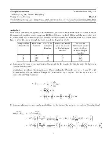 Stichprobentheorie Wintersemester 2009/2010 Vorlesung Prof. Dr ...