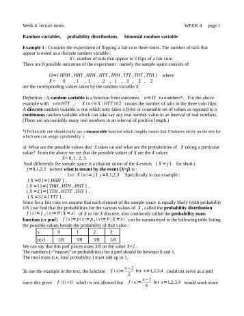 Random variables, probability distributions, binomial random variable
