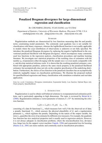 Penalized Bregman divergence for large-dimensional regression ...