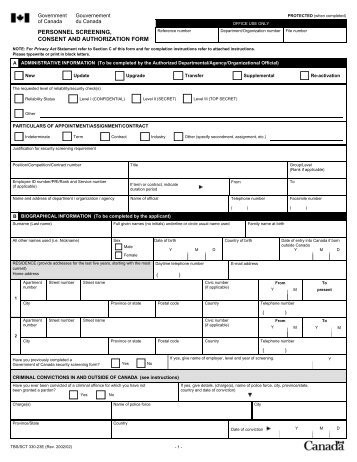 330-23 - Personnel Screening, Consent and Authorization Form