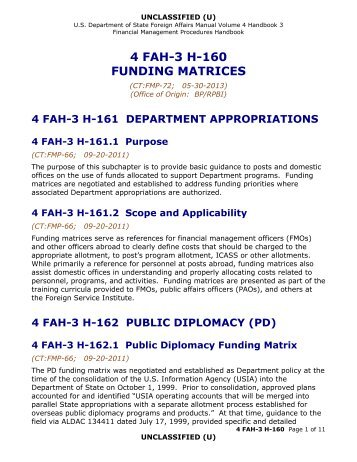 4 FAH-3 H-160 Funding Matrices - US Department of State
