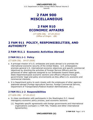 2 FAM 910 Miscellaneous - Economic Affairs - US Department of State