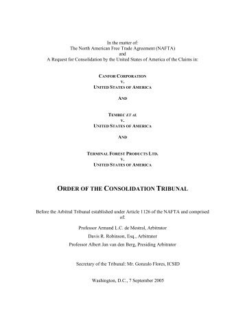 order of the consolidation tribunal - US Department of State