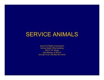 SERVICE ANIMALS - Iowa Civil Rights Commission