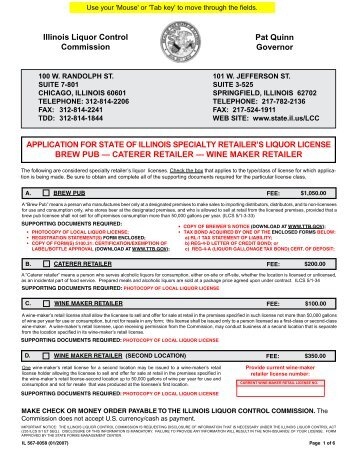Specialty Retailer License - State of Illinois