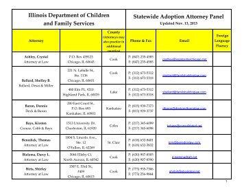 Adoption Attorney Panel List - State of Illinois