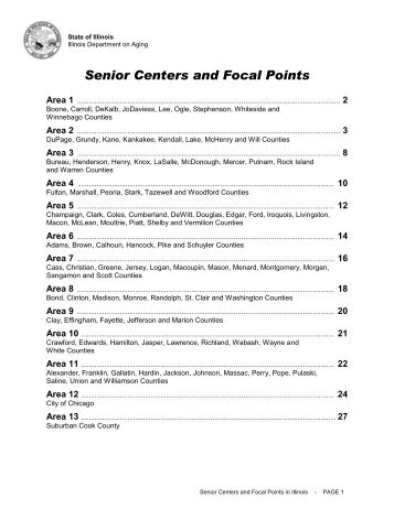 Senior Centers and Focal Points - State of Illinois