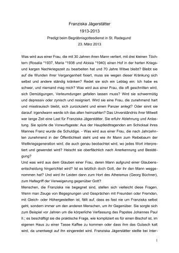 Predigt von Bischof Manfred Scheuer zum Begräbnis von Franziska Jägerstätter