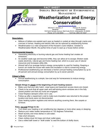 Weatherization and Energy Conservation - State of Indiana