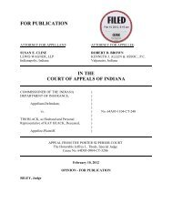 Commissioner of the Indiana Dept. of Insurance v ... - State of Indiana