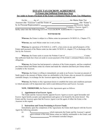 Estate Tax Escrow Agreement For An    MaineGov
