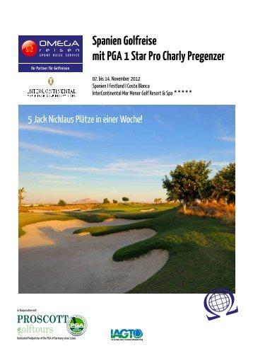 Spanien Golfreise mit PGA 1 Star Pro Charly Pregenzer