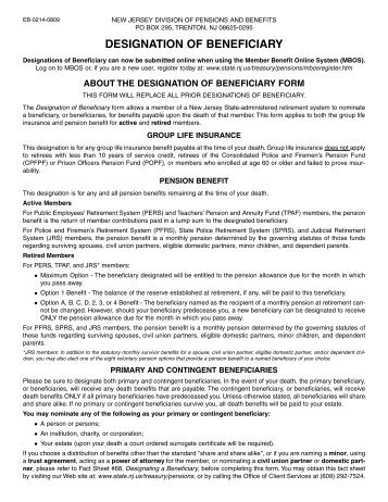Designation of Beneficiary Form - State of New Jersey