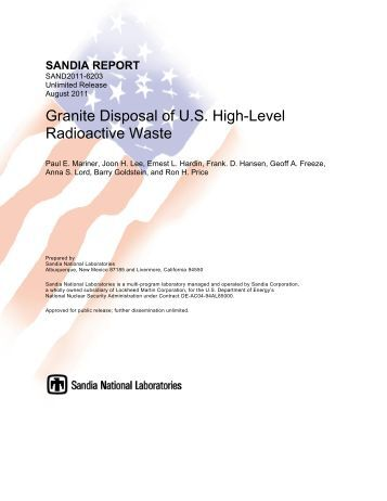 Granite Disposal of U.S. High-Level Radioactive Waste