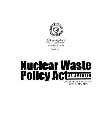 Nuclear Waste Policy Act.doc - U.S. Department of Energy