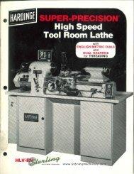 Hardinge HLV EM Lathe High Speed Tool Room Brochure - Sterling ...