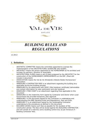 Rules regulations boschhoek mountain estate for Construction rules and regulations