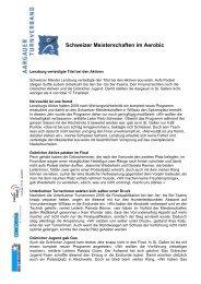 Schweizer Meisterschaften im Aerobic - Aargauer Turnverband