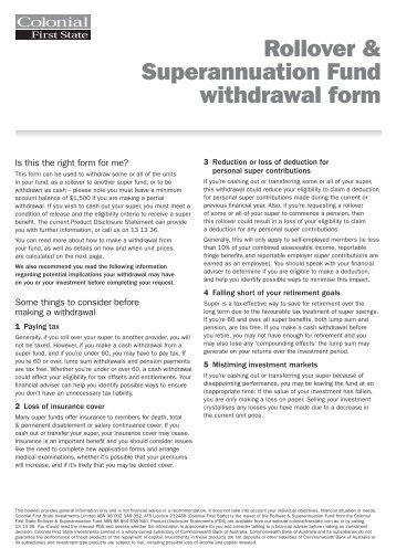 Rollover Superannuation Fund Withdrawal Form