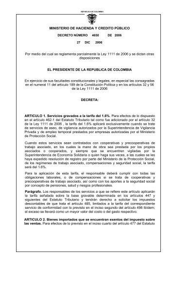 MINISTERIO DE HACIENDA Y CREDITO PÚBLICO Por medio del ...
