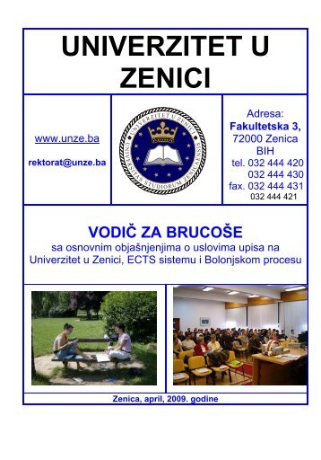 Vodič za brucoše - Zdravstveni fakultet Zenica - Univerzitet u Zenici