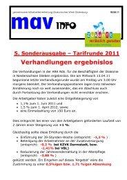 Tarifrunde 2011 Sonderinfo 5 - Diakonie im Oldenburger Land