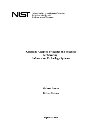 Generally Accepted Principles and Practices for Securing ...